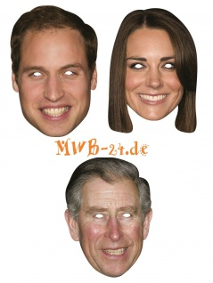 Rubies Card mask - Face Mask * Prince William, Kate, Charles * Maske aus Pappe