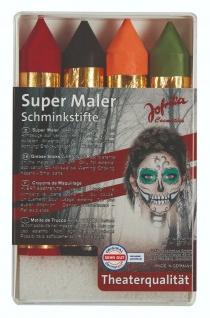Jofrika Cosmetics 748118 - Super Maler, 4 Schminkstifte Set, Halloween Schminke
