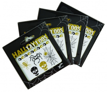 Jofrika 704052 - Halloween Tattoos - Skelett Spinne Spinnenetz - schwarz gold