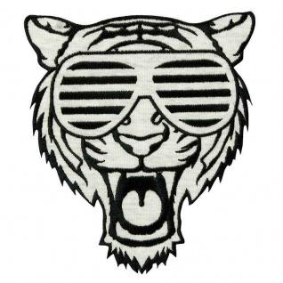 MQ 20102 Tiger mit Brille Bügelbild, Patch, große Applikation, schwarz weiß