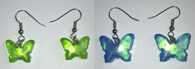 1 Paar Ohrhaken Schmetterling, kiwi, türkis, Ohrhänger Ohrringe Ohrschmuck NEU