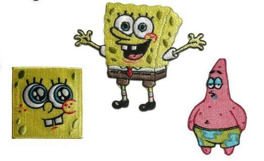 Spongebob oder Patrick Applikationen, Bügelbild, Aufnäher, Patch - Schwammkopf