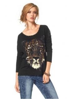 Aniston Damen Shirt * mit Tigerprint * in schwarz * Langarmshirt * Größe 36 38