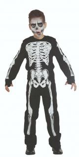 Mottoland 125971 - Skelett Boy * 104 - 152 Halloween Kostüm * Overall mit Haube