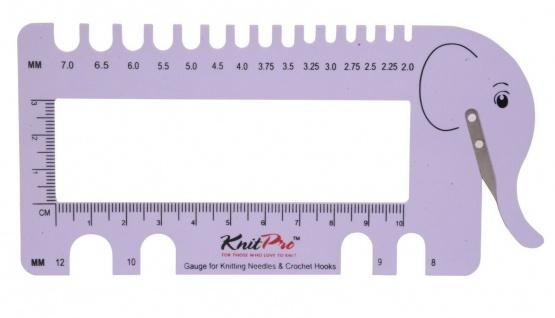 KnitPro 1099x Nadelmaß mit Garn Cutter und Lineal - Elefant lila, rosa 2, 0 - 12mm - Vorschau 3