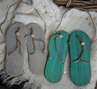 Strand Dekor Flip Flops hängend im Set 23 cm