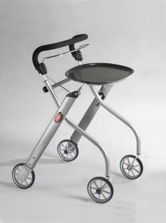 Trust Care - Wohnraum-Rollator - Let's Go in verschiedenen wohnlichen Designs, mit abnehmbarem Tablett und kleiner Tasche Farbe: Silber