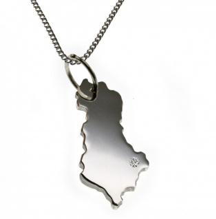 50cm Halskette + Albanien Anhänger mit einem Brillant 0, 015ct an Ihrem Wunschort in 925 Silber