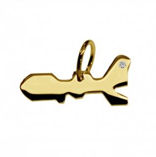 Kettenanhänger in der Form von der Landkarte Elba mit Brillant 0, 015ct an Ihrem Wunschort in massiv 585 Gelbgold