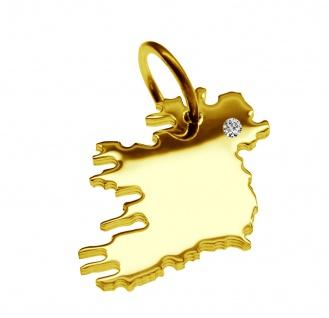 Kettenanhänger in der Form von der Landkarte Irland mit Brillant 0, 015ct an Ihrem Wunschort in massiv 585 Gelbgold