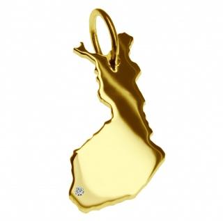 Kettenanhänger in der Form von der Landkarte Finnland mit Brillant 0, 015ct an Ihrem Wunschort in massiv 585 Gelbgold