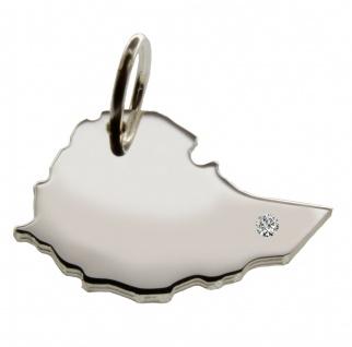 Äthiopien Anhänger mit einem Brillant 0, 015ct an Ihrem Wunschort in massiv 925 Silber