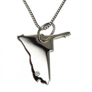 50cm Halskette + Namibia Anhänger mit einem Brillant 0, 015ct an Ihrem Wunschort in 925 Silber