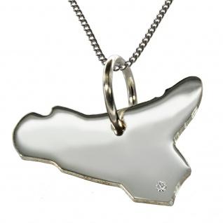 50cm Halskette + Sizilien Anhänger mit einem Brillant 0, 015ct an Ihrem Wunschort in 925 Silber
