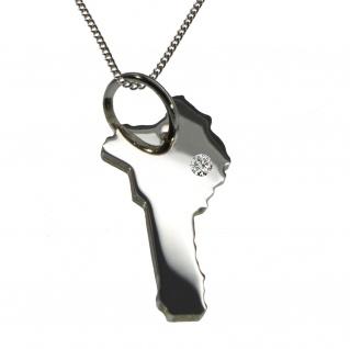 50cm Halskette + Benin Anhänger mit einem Brillant 0, 015ct an Ihrem Wunschort in 925 Silber