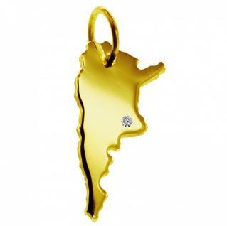 Kettenanhänger in der Form von der Landkarte Argentinien mit Brillant 0, 015ct an Ihrem Wunschort in massiv 585 Gelbgold