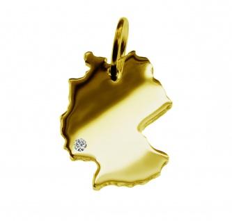 Kettenanhänger in der Form von der Landkarte Deutschland mit Brillant 0, 015ct an Ihrem Wunschort in massiv 585 Gelbgold