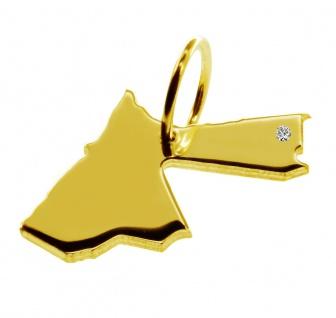 Kettenanhänger in der Form von der Landkarte Jordanien mit Brillant 0, 015ct an Ihrem Wunschort in massiv 585 Gelbgold