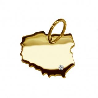 Kettenanhänger in der Form von der Landkarte Polen mit Brillant 0, 015ct an Ihrem Wunschort in massiv 585 Gelbgold