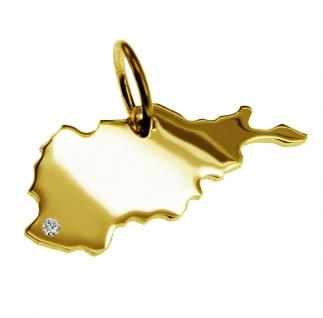 Kettenanhänger in der Form von der Landkarte Afghanistanmit Brillant 0, 015ct an Ihrem Wunschort in massiv 585 Gelbgold