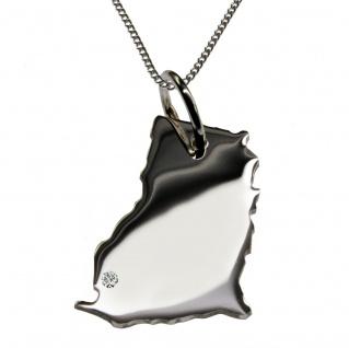 50cm Halskette + Ghana Anhänger mit einem Brillant 0, 015ct an Ihrem Wunschort in 925 Silber
