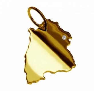 Kettenanhänger in der Form von der Landkarte Baden-Württemberg mit Brillant 0, 015ct an Ihrem Wunschort in massiv 585 Gelbgold