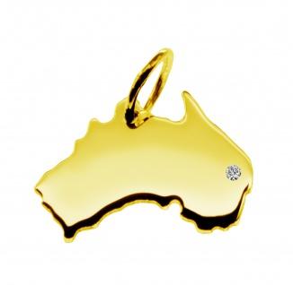 Kettenanhänger in der Form von der Landkarte Australien mit Brillant 0, 015ct an Ihrem Wunschort in massiv 585 Gelbgold