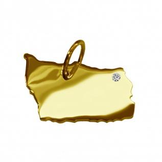 Kettenanhänger in der Form von der Landkarte Bornholm mit Brillant 0, 015ct an Ihrem Wunschort in massiv 585 Gelbgold