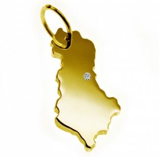 Kettenanhänger in der Form von der Landkarte Albanien mit Brillant 0, 015ct an Ihrem Wunschort in massiv 585 Gelbgold