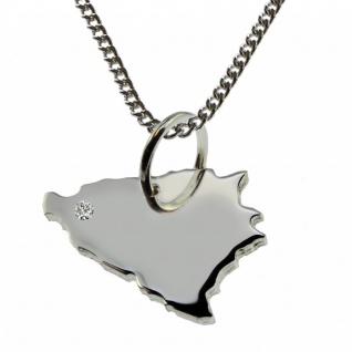 50cm Halskette + Bosnien Anhänger mit einem Brillant 0, 015ct an Ihrem Wunschort in 925 Silber