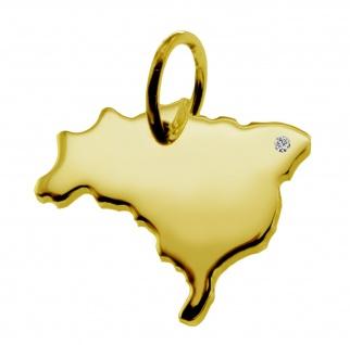 Kettenanhänger in der Form von der Landkarte Brasilien mit Brillant 0, 015ct an Ihrem Wunschort in massiv 585 Gelbgold