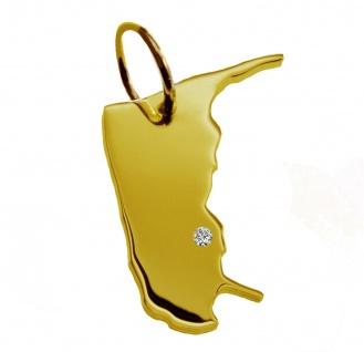 Kettenanhänger in der Form von der Landkarte Amrum mit Brillant 0, 015ct an Ihrem Wunschort in massiv 585 Gelbgold
