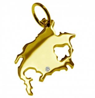 Kettenanhänger in der Form von der Landkarte Nordamerika mit Brillant 0, 015ct an Ihrem Wunschort in massiv 585 Gelbgold