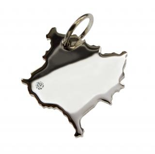 Kosovo Anhänger mit einem Brillant 0, 015ct an Ihrem Wunschort in massiv 925 Silber