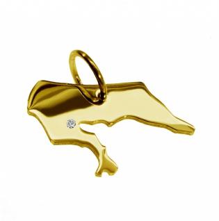 Kettenanhänger in der Form von der Landkarte Borkum mit Brillant 0, 015ct an Ihrem Wunschort in massiv 585 Gelbgold