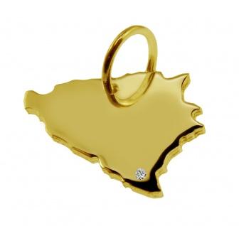 Kettenanhänger in der Form von der Landkarte Bosnien mit Brillant 0, 015ct an Ihrem Wunschort in massiv 585 Gelbgold
