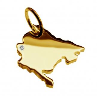 Kettenanhänger in der Form von der Landkarte Montenegro mit Brillant 0, 015ct an Ihrem Wunschort in massiv 585 Gelbgold