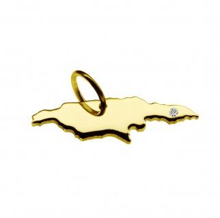 Kettenanhänger in der Form von der Landkarte Jamaika mit Brillant 0, 015ct an Ihrem Wunschort in massiv 585 Gelbgold
