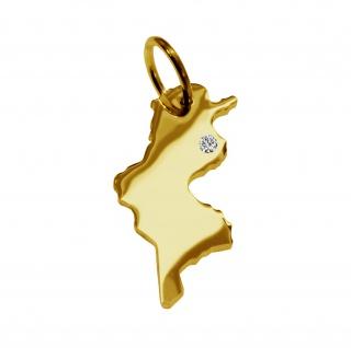 Kettenanhänger in der Form von der Landkarte Tunesien mit Brillant 0, 015ct an Ihrem Wunschort in massiv 585 Gelbgold
