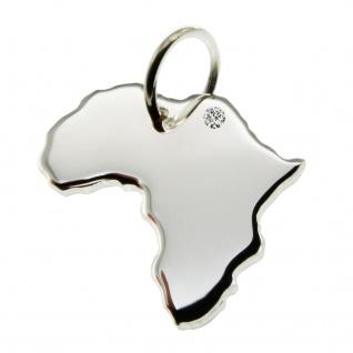 Kettenanhänger in der Form von der Landkarte Afrika mit Brillant 0, 015ct an Ihrem Wunschort in massiv 925 Silber
