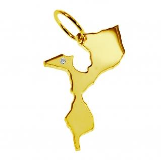 Kettenanhänger in der Form von der Landkarte Mozambik mit Brillant 0, 015ct an Ihrem Wunschort in massiv 585 Gelbgold