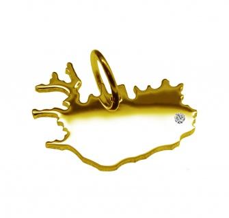 Kettenanhänger in der Form von der Landkarte Island mit Brillant 0, 015ct an Ihrem Wunschort in massiv 585 Gelbgold