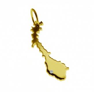 Kettenanhänger in der Form von der Landkarte Norwegen mit Brillant 0, 015ct an Ihrem Wunschort in massiv 585 Gelbgold