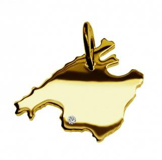 Kettenanhänger in der Form von der Landkarte Mallorca mit Brillant 0, 015ct an Ihrem Wunschort in massiv 585 Gelbgold
