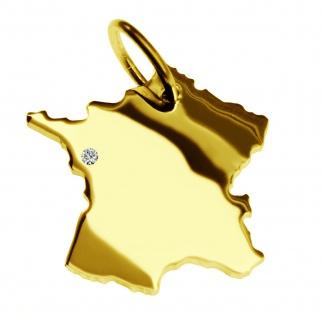 Kettenanhänger in der Form von der Landkarte Frankreich mit Brillant 0, 015ct an Ihrem Wunschort in massiv 585 Gelbgold