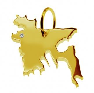 Kettenanhänger in der Form von der Landkarte Bangladesh mit Brillant 0, 015ct an Ihrem Wunschort in massiv 585 Gelbgold