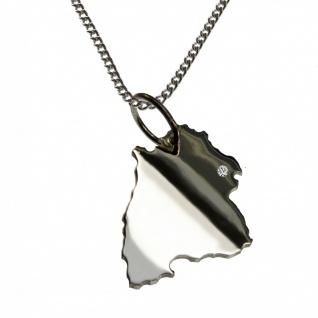 50cm Halskette + Baden-Württemberg Anhänger mit einem Brillant 0, 015ct an Ihrem Wunschort in 925 Silber