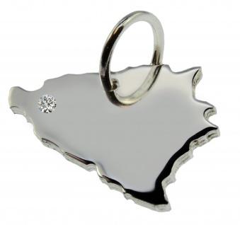 Bosnien Anhänger mit einem Brillant 0, 015ct an Ihrem Wunschort in massiv 925 Silber