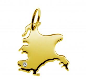Kettenanhänger in der Form von der Landkarte Rügen mit Brillant 0, 015ct an Ihrem Wunschort in massiv 585 Gelbgold