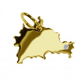 Kettenanhänger in der Form von der Landkarte Berlin mit Brillant 0, 015ct an Ihrem Wunschort in massiv 585 Gelbgold